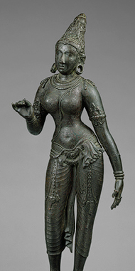 Parvati, standing, Islamic, Sculpture, South Indian, Chola Dynasty, ca. 900, The Metropolitan Museum of Art; Cora Tinken Burnett Collection of Persian Miniatures and other Persian Art Objects, Bequest of Cora Tinken Burnett, 1956 (detail).