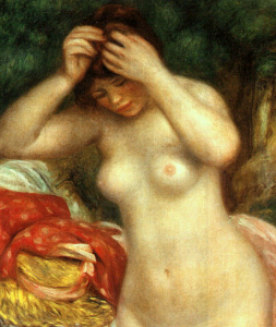 Bather Arranging Her Hair, Auguste Renoir, National Gallery of Art, Washington; Chester Dale Collection (detail).